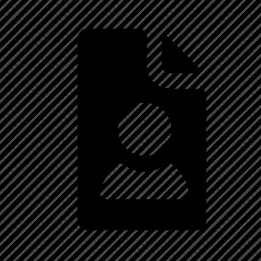 file profile, personal file, personal record, profile, user file icon