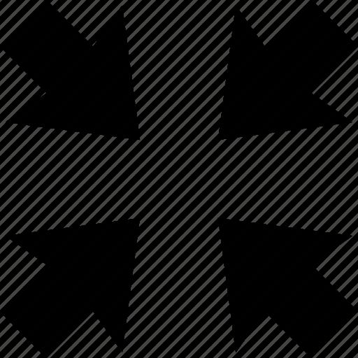 area, arrow, arrows, direction, meeting, minimize, point icon