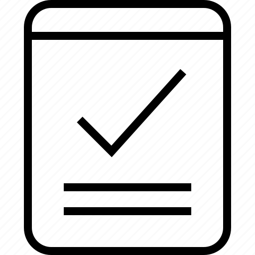check, layout, mark, ok, page, wireframe icon