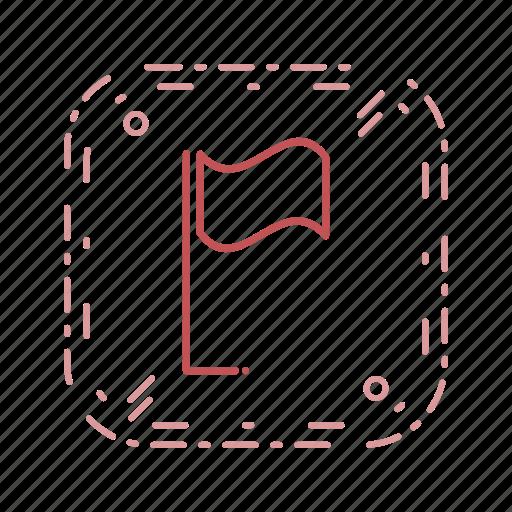 acheivement, flag, location, pin icon