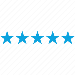 five, rating, review, star icon