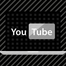 analytics, laptop, web, youtube icon