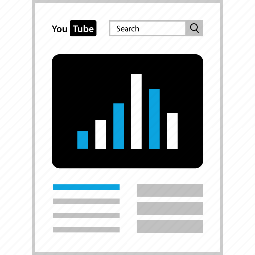 bars, data, page, youtube icon