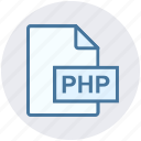 coding, document, extension, file, php, programming, type