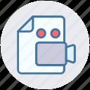 camera, file, film, movie, page, recording, video icon