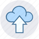 cloud, cloud network, development, storage, up arrow, uploading icon