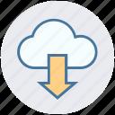 cloud, cloud network, development, down arrow, downloading, sharing, storage
