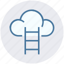 aspiration, cloud, cloud computing, cloud hosting, data cloud, stairs, technology icon