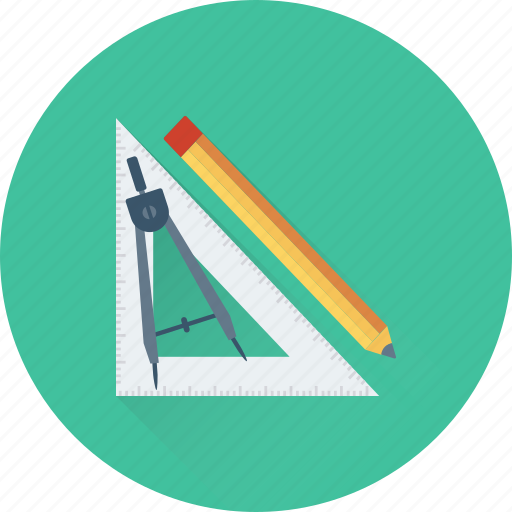 compass, drafting, geometry, pencil, set square icon
