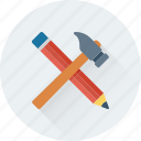 crayon, hammer, nail hammer, pencil, tools icon