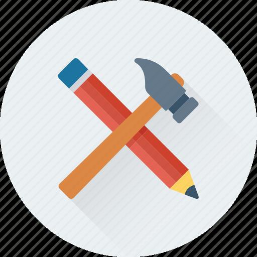 crayon, hammer, nail hammer, pencil, tools icon
