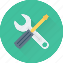 maintenance, repair, screwdriver, spanner, tools icon
