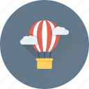 air balloon, clouds, discover, parachute balloon, travel icon