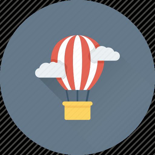 air balloon, clouds, discover, parachute balloon, travel icon