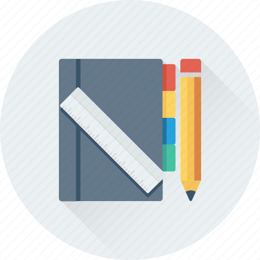 notebook, notes, pencil, scale, writing icon
