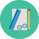 artwork, glasses, pencil, planning, scale icon