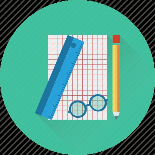 artwork, glasses, pencil, planning, scale icon