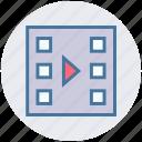 camera reel, cinema, film, media, movie, play, reel icon