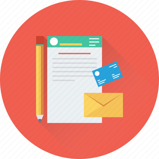 credit card, document, email, pencil, report icon