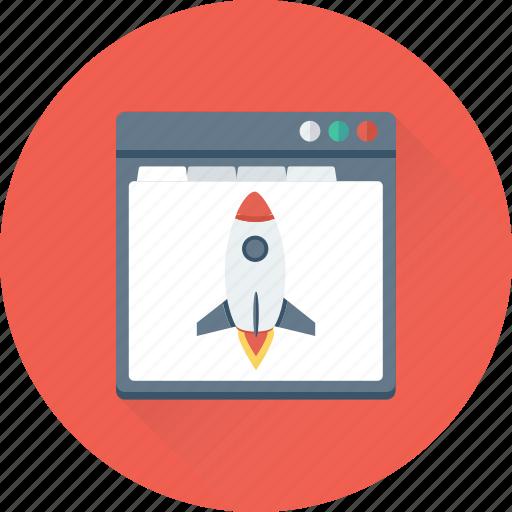 build site, create website, rocket, web startup, website icon