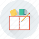 cup, notebook, notes, pencil, tea break icon
