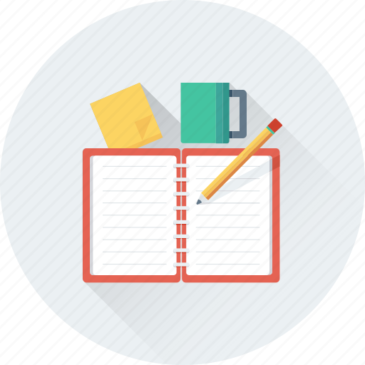 cup, notebook, notes, pencil, tea break icon