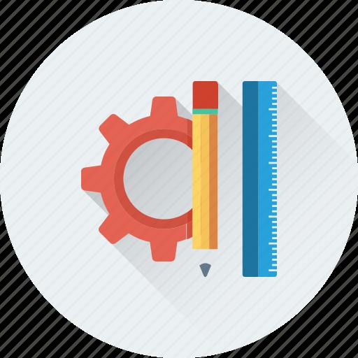 cog, design tools, drafting, pencil, scale icon
