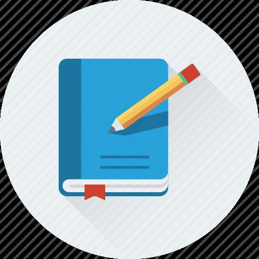 book, diary, notebook, notes, pencil icon