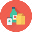 bottle, grocery, jar, juice carton, milk pack icon