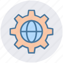 development, gear, globe, globe gear, internet, network, world in gear icon