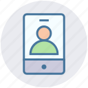 account, man, mobile, phone, selfie, smartphone, user icon