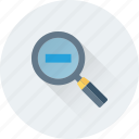 loupe, magnifier, minimize, search tool, zoom out