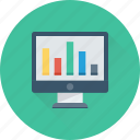 analytics, bar chart, monitor, online graph, statistics icon