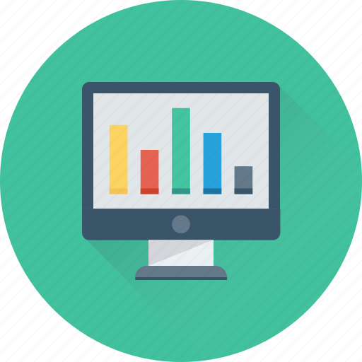 analytics, bar chart, monitor, online graph, statistics icon