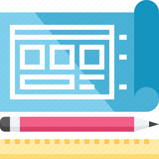 blueprint, design, development, drawing, layout, template, web icon