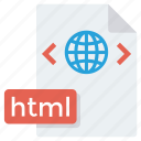 adobe, extention, file, format, html icon