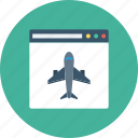 airplane, browser, internet, landing, page, window icon icon