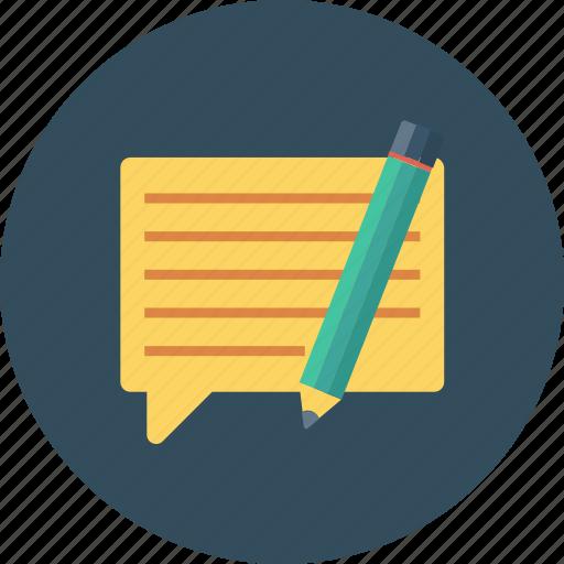 chat, chat bubble, comment, edit comment, speech, speech bubble, talk bubble icon icon