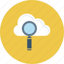 cloud, cloud computing, explore, find, magnifier, search, seo icon icon