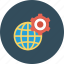 cog, cogwheel, global setting, globe, internet setting icon icon