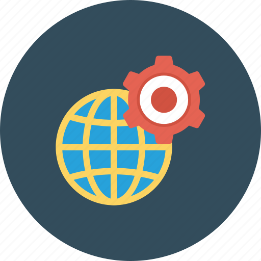 cog, cogwheel, global setting, globe, internet setting icon icon