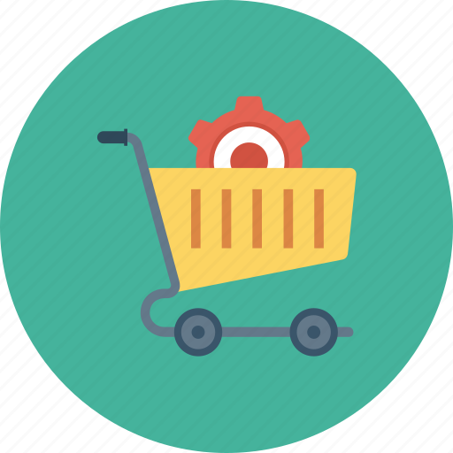 cart, gear, options, setting, shopping, shopping cart icon icon