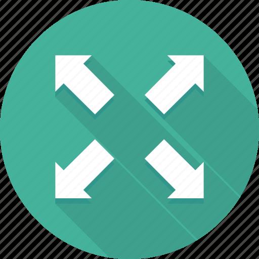 arrow, arrows, four, large, maximum, screen, way icon