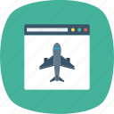 airplane, browser, internet, landing, page, window icon
