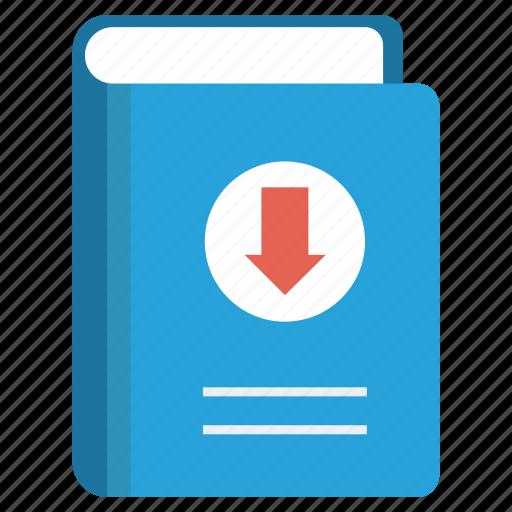 arrow, book, content, down, download icon