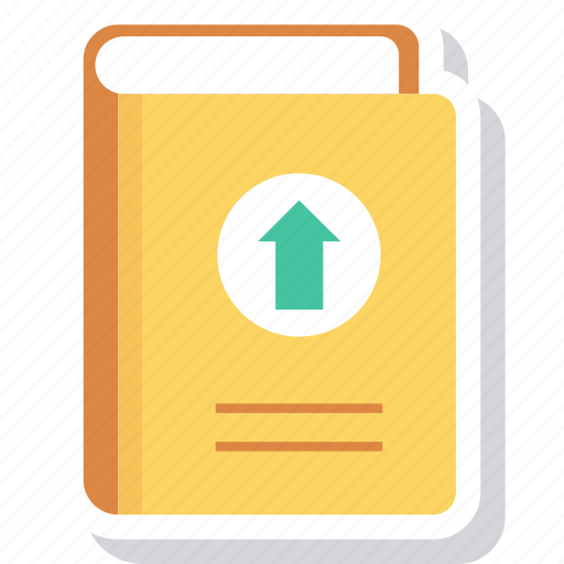 arrow, book, content, up, upload icon