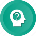 brain, brainstorming, education, faq, frustration, question icon