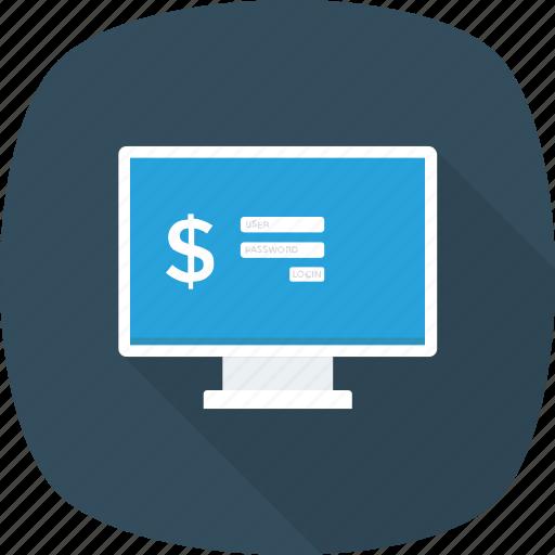 bank, login, monitor, online, safe icon