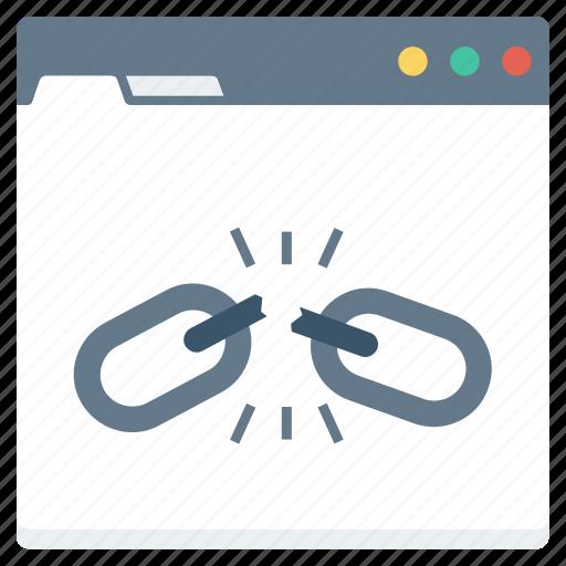 broken, chain, connection, hyperlink, interlink, link icon
