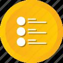 bullet, items, list, unjustified, bullets, menu icon